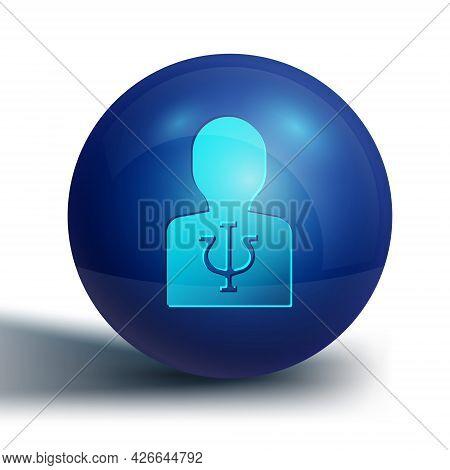 Blue Psychology Icon Isolated On White Background. Psi Symbol. Mental Health Concept, Psychoanalysis