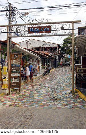 Tibau Do Sul, Rio Grande Do Norte / Brazil - January 19, 2021: Rua Do Ceu Street In The Village Of P