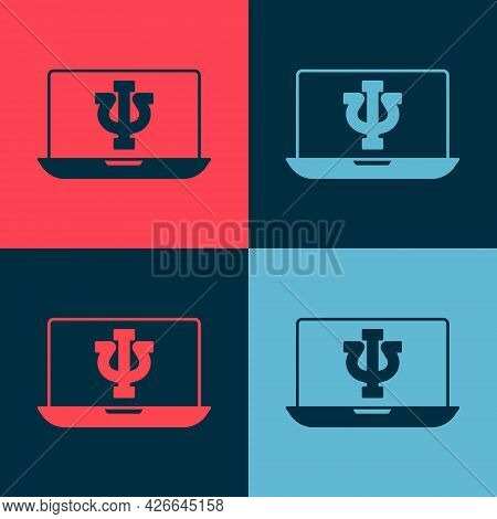 Pop Art Online Psychological Counseling Distance Icon Isolated On Color Background. Psychotherapy, P