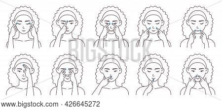 Facial Acupressure Massage Therapy Technique. Female Character Massaging Face Acupressure Points, Ve