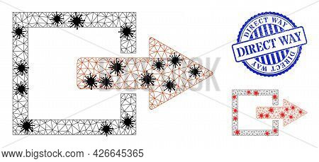 Mesh Polygonal Export Arrow Symbols Illustration In Infection Style, And Distress Blue Round Direct