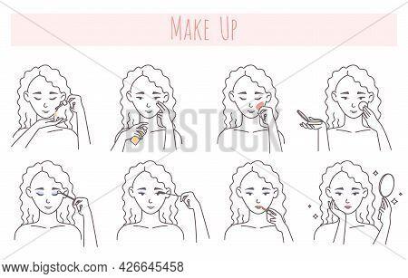 Face Makeup Application Steps, Vector Illustration. Facial Skin Care Routine, Beauty Procedure