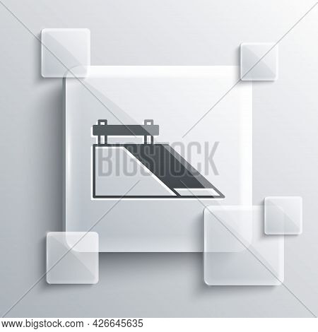 Grey Skate Park Icon Isolated On Grey Background. Set Of Ramp, Roller, Stairs For A Skatepark. Extre