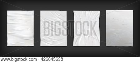 White Wet Wrinkled Creased Paper Sheets, Posters Glued To Street Wall Mockup Set. Crumpled Paper Tex