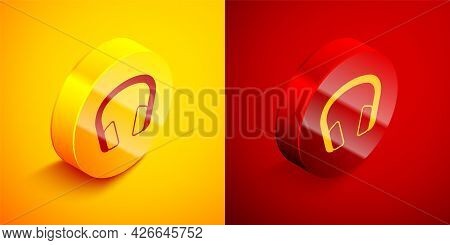 Isometric Headphones Icon Isolated On Orange And Red Background. Earphones. Concept For Listening To