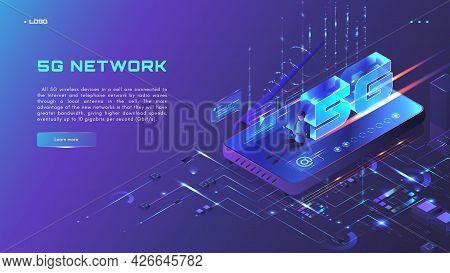 5g Network Website Banner, Web Page Design Template, Isometric Neon Vector Illustration. 5g Internet
