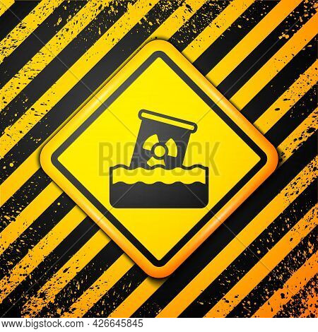 Black Radioactive Waste In Barrel Icon Isolated On Yellow Background. Toxic Waste Contamination On W