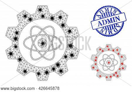 Mesh Polygonal Atomic Industry Icons Illustration With Lockdown Style, And Rubber Blue Round Admin S