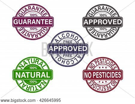 A Set Of Stamps. Brands, Certificates Of Guarantee Of The Highest Quality, No Pesticides. Tested, Ap