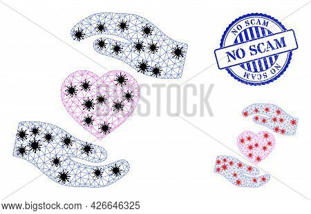 Mesh Polygonal Favourite Heart Care Hands Symbols Illustration Designed Using Lockdown Style, And Ru
