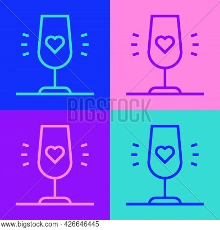 Pop Art Line Wine Glass Icon Isolated On Color Background. Wineglass Sign. Favorite Wine. Vector