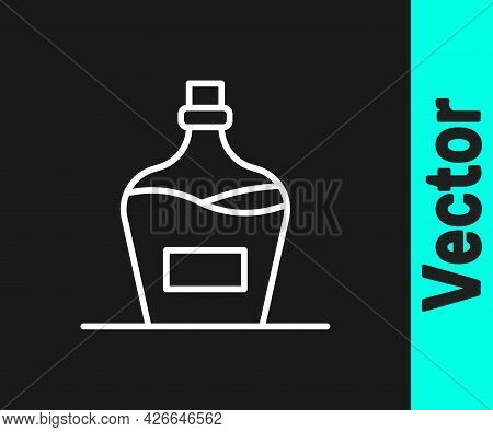 White Line Old Bottle Of Wine Icon Isolated On Black Background. Bottle Of Homemade Wine. Vector