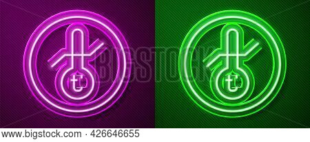 Glowing Neon Line Meteorology Thermometer Measuring Icon Isolated On Purple And Green Background. Th