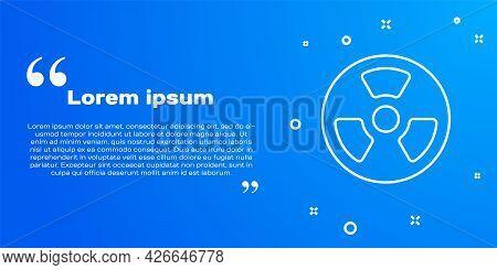 White Line Radioactive Icon Isolated On Blue Background. Radioactive Toxic Symbol. Radiation Hazard