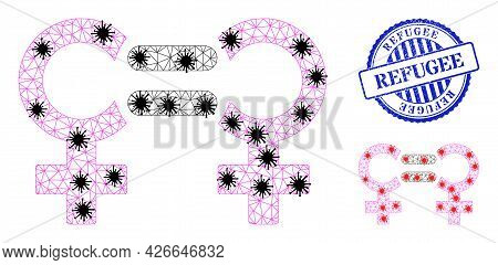 Mesh Polygonal Lesbian Relation Symbol Icons Illustration With Lockdown Style, And Grunge Blue Round