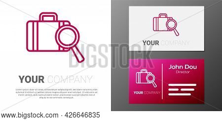Logotype Line Airline Service Of Finding Lost Baggage Icon Isolated On White Background. Search Lugg