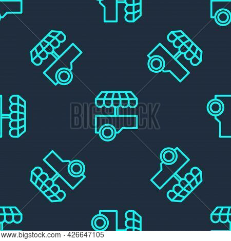 Green Line Fast Street Food Cart With Awning Icon Isolated Seamless Pattern On Blue Background. Urba