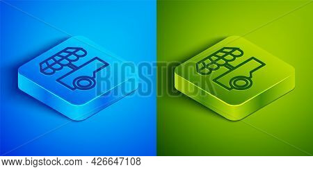 Isometric Line Fast Street Food Cart With Awning Icon Isolated On Blue And Green Background. Urban K