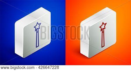 Isometric Line Magic Wand Icon Isolated On Blue And Orange Background. Star Shape Magic Accessory. M