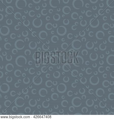 Dusty Blue Chambray Enso Circles Primitive Seamless Pattern. Vector Illustration For Background, Bed