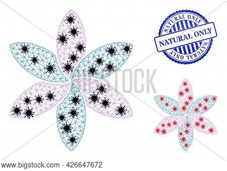 Mesh Polygonal Flower Icons Illustration In Infection Style, And Grunge Blue Round Natural Only Stam