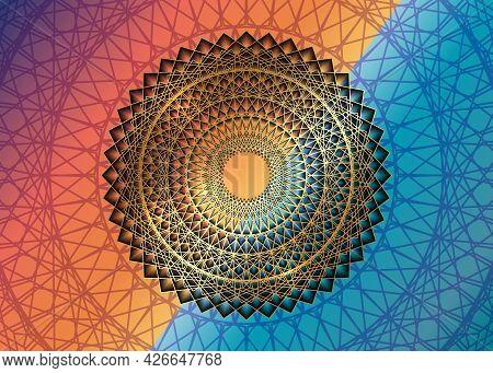 Gold Mandala Vintage Decorative Elements, Golden Line Art. Luxury Oriental Pattern, Vector Illustrat