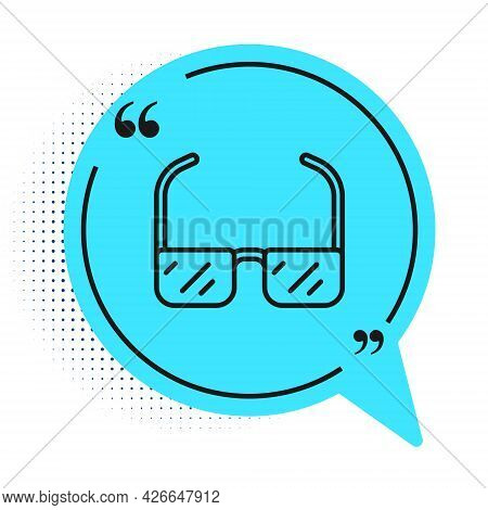 Black Line Safety Goggle Glasses Icon Isolated On White Background. Blue Speech Bubble Symbol. Vecto