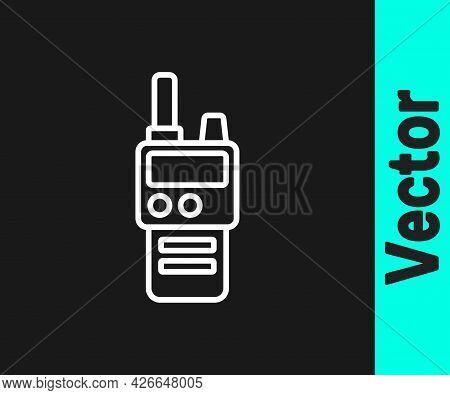 White Line Walkie Talkie Icon Isolated On Black Background. Portable Radio Transmitter Icon. Radio T