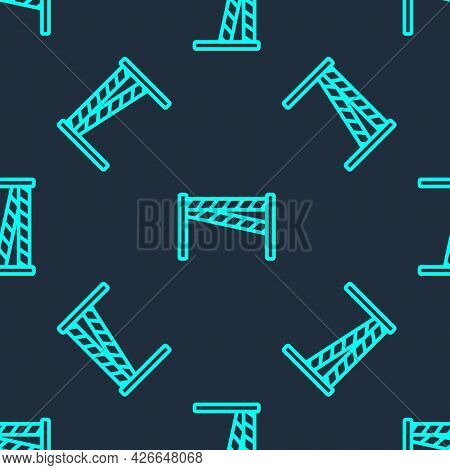 Green Line Crime Scene Icon Isolated Seamless Pattern On Blue Background. Vector