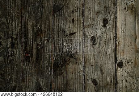 Abstract Background Of Burnt Wooden Boards. Closeup Topview For Artworks. High Quality Photo
