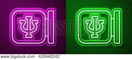 Glowing Neon Line Psychology Icon Isolated On Purple And Green Background. Psi Symbol. Mental Health