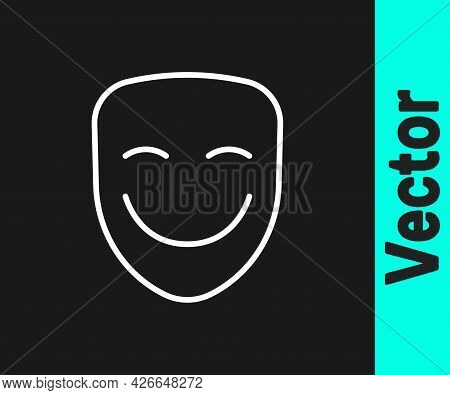 White Line Comedy Theatrical Mask Icon Isolated On Black Background. Vector