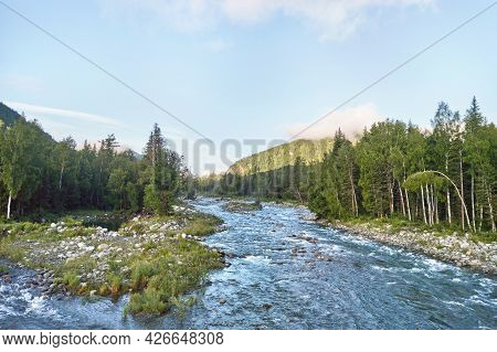 Vacation Landscape. Russian Altai Mountains. Multa Region. Holiday At Home. Staycation Concept. Rive