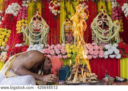 Howrah, West Bengal, India - 29th June 2020 : Hindu Priest Made Yajna To Worship Idol Of God Jaganna