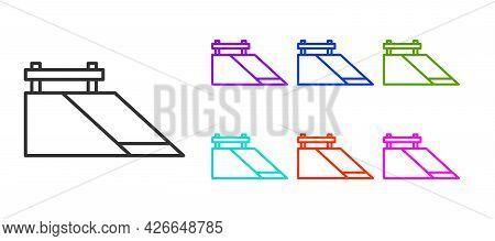 Black Line Skate Park Icon Isolated On White Background. Set Of Ramp, Roller, Stairs For A Skatepark