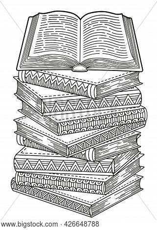 World Book Day. Books Detailed Doodle Coloring For Adults