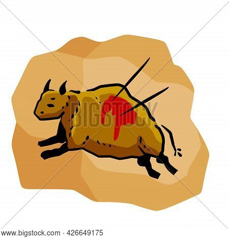 Rock Art. Scene Of Bull Hunt. Primitive Life. Drawing In A Cave. Animal Wounded By Spear Or Arrow. S