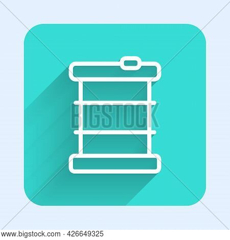 White Line Radioactive Waste In Barrel Icon Isolated With Long Shadow Background. Toxic Refuse Keg.