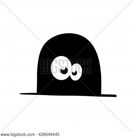 Mouse In Hole In Wall. Character With Eyes In Dark. Outline Cartoon Isolated On White. Funny Black A