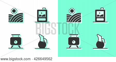 Set Decanter For Wine, Vineyard Grapes, Fermentation Of And Cardboard Box Icon. Vector