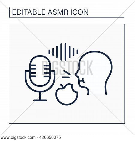 Asmr Line Icon. Recording Eating Food On A High Frequency Microphone. Apple Crunching. Internet Tren