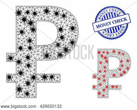 Mesh Polygonal Rouble Icons Illustration With Outbreak Style, And Scratched Blue Round Money Check S