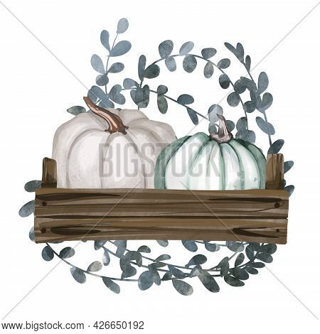 Watercolor Composition Of Colorful Pumpkins And Autumn Leaves. Botanical Illustration Isolated On Wh