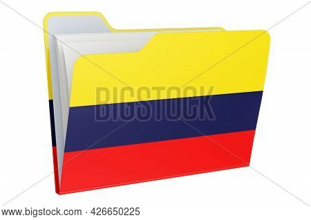 Computer Folder Icon With Colombian Flag. 3d Rendering Isolated On White Background
