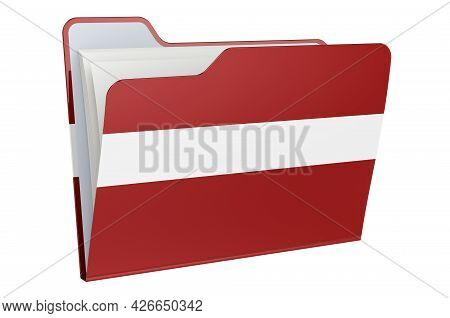 Computer Folder Icon With Latvian Flag. 3d Rendering Isolated On White Background