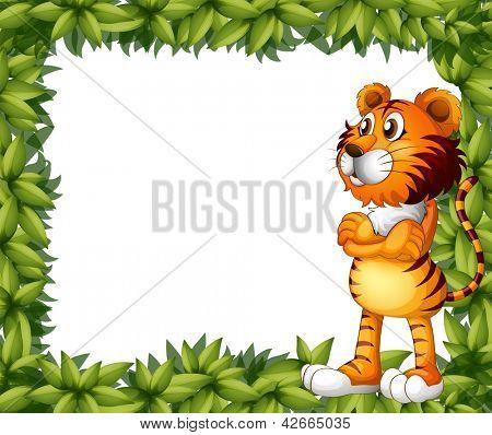 Abbildung eines lächelnden Tiger und Pflanze Frames auf weißem Hintergrund
