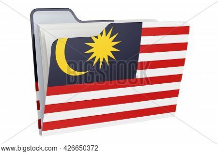 Computer Folder Icon With Malaysian Flag. 3d Rendering Isolated On White Background