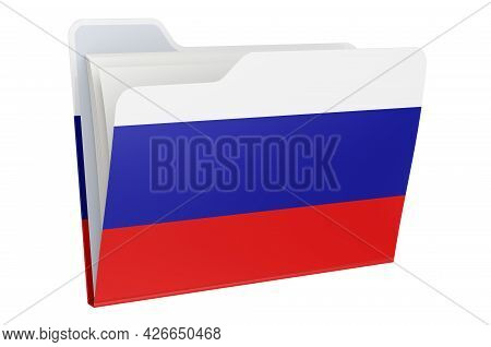 Computer Folder Icon With Russian Flag. 3d Rendering Isolated On White Background