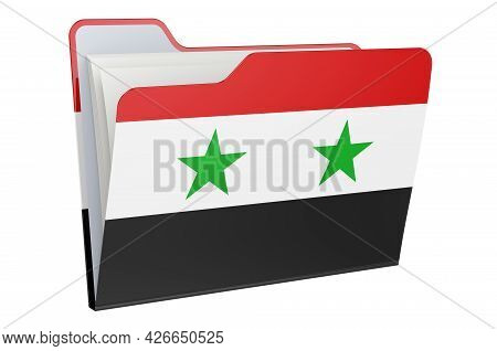 Computer Folder Icon With Syrian Flag. 3d Rendering Isolated On White Background