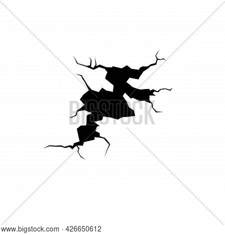 Ground Cracks Top View, Earthquake Cracking Holes, Vector